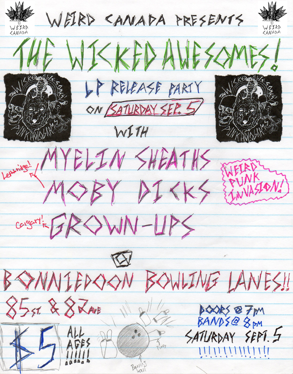 Weird Canada Presents - The Wicked Aweomes! LP Release Party!
